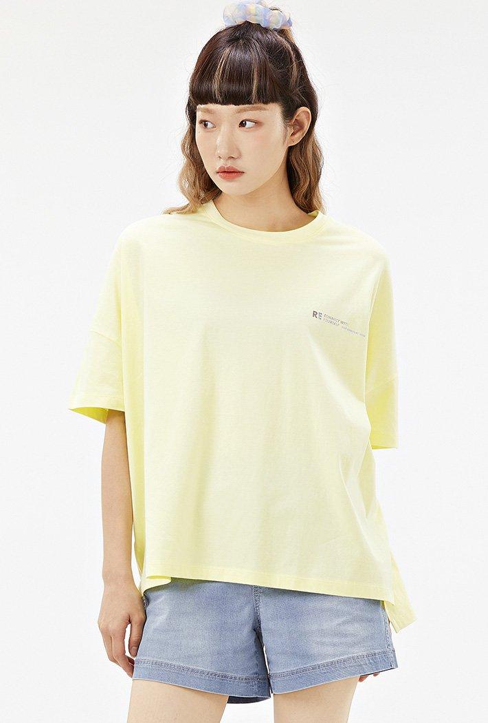 여성 루즈핏 홀로그램 레터 티셔츠-ACAG5878F06
