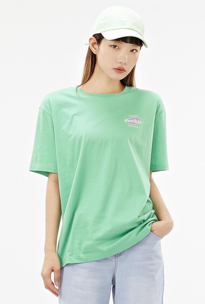 여성 롱기장 크랙 그래픽 티셔츠-ACAG5879F0H