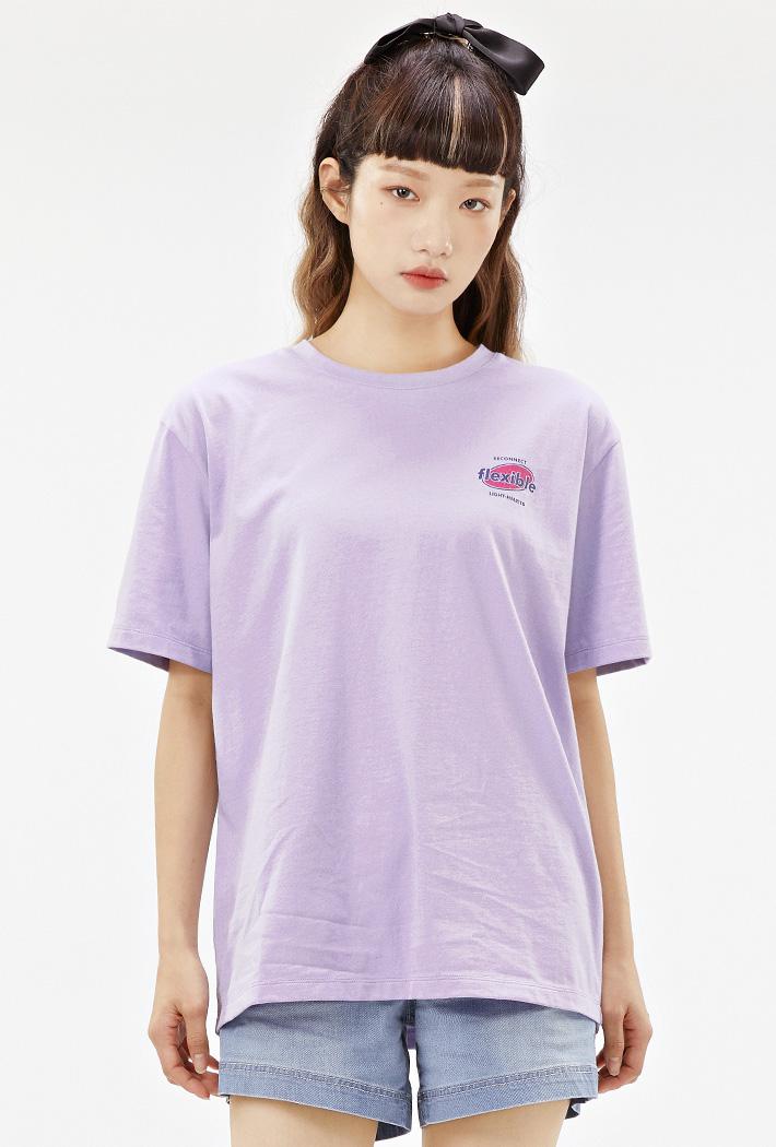 여성 롱기장 크랙 그래픽 티셔츠-ACAG5879F0T
