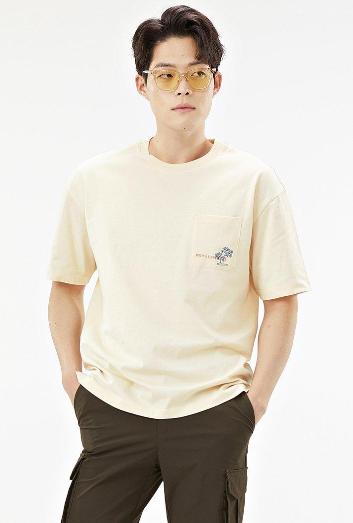 남성 세미오버핏 썸머 그래픽 티셔츠-ACAK5834E05