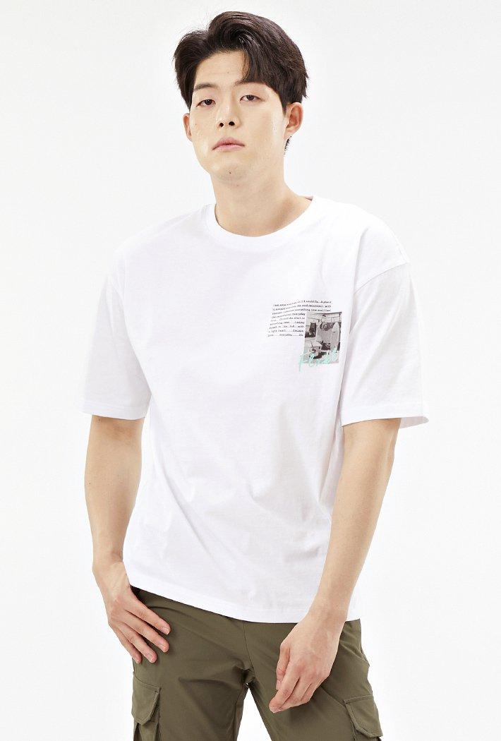 남성 세미 오버핏 망점 드로잉 반팔 티셔츠-ACAK5835E01