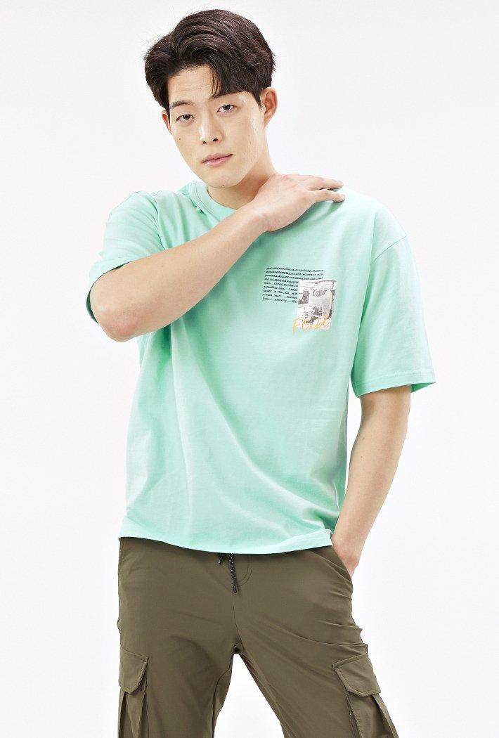 남성 세미 오버핏 망점 드로잉 반팔 티셔츠-ACAK5835E0S