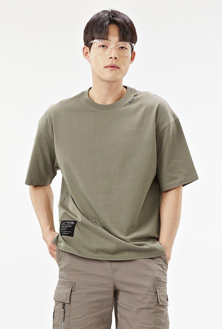 남성 오버핏 백면 레터링 5부 티셔츠-ACAK5844E0V