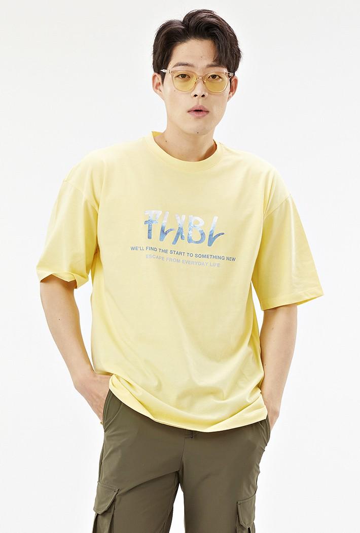 남성 오버핏 썸머 포토레터링 티셔츠-ACAK5848F06