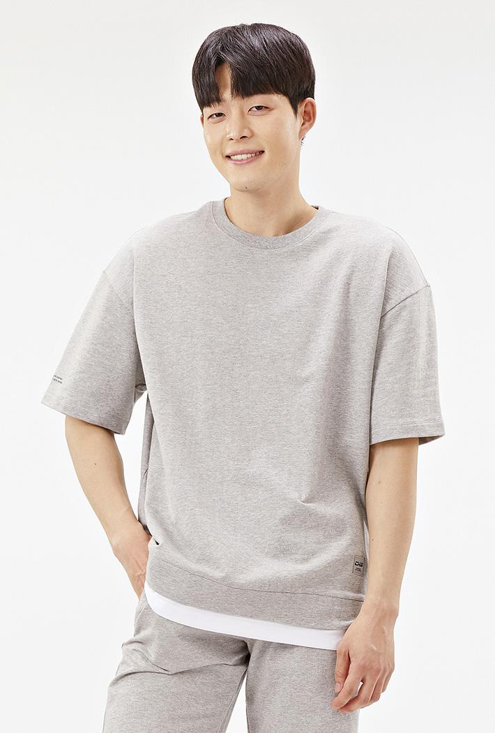 공용 오버핏 와펜 레이어드 티셔츠-ACAU5846F0B