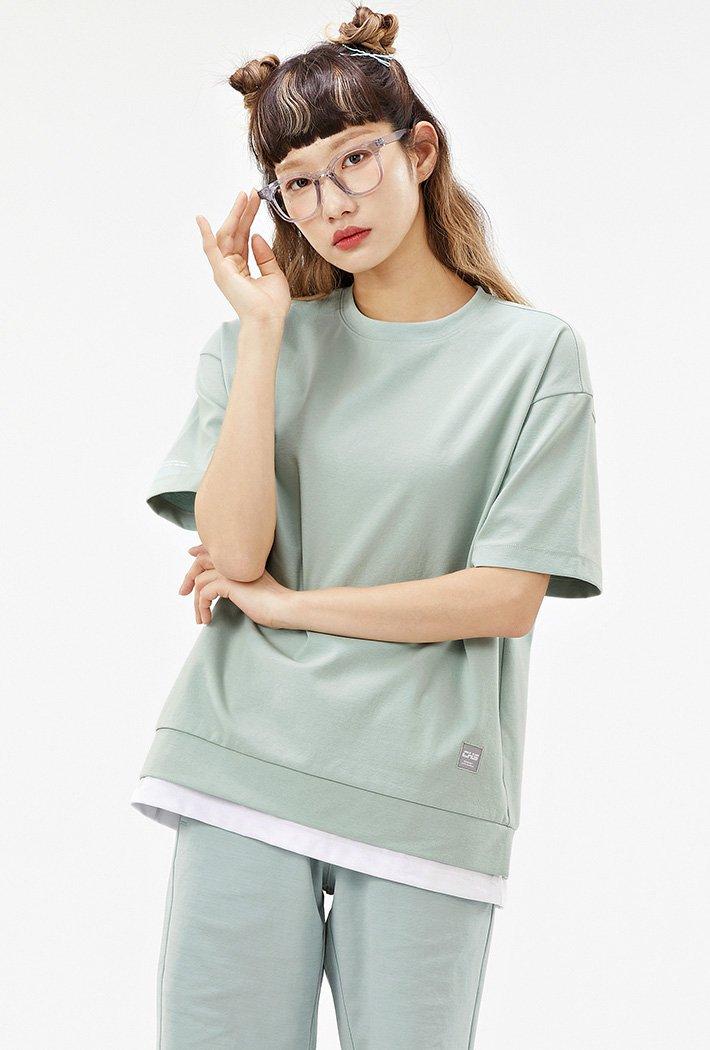 공용 오버핏 와펜 레이어드 티셔츠-ACAU5846F0S