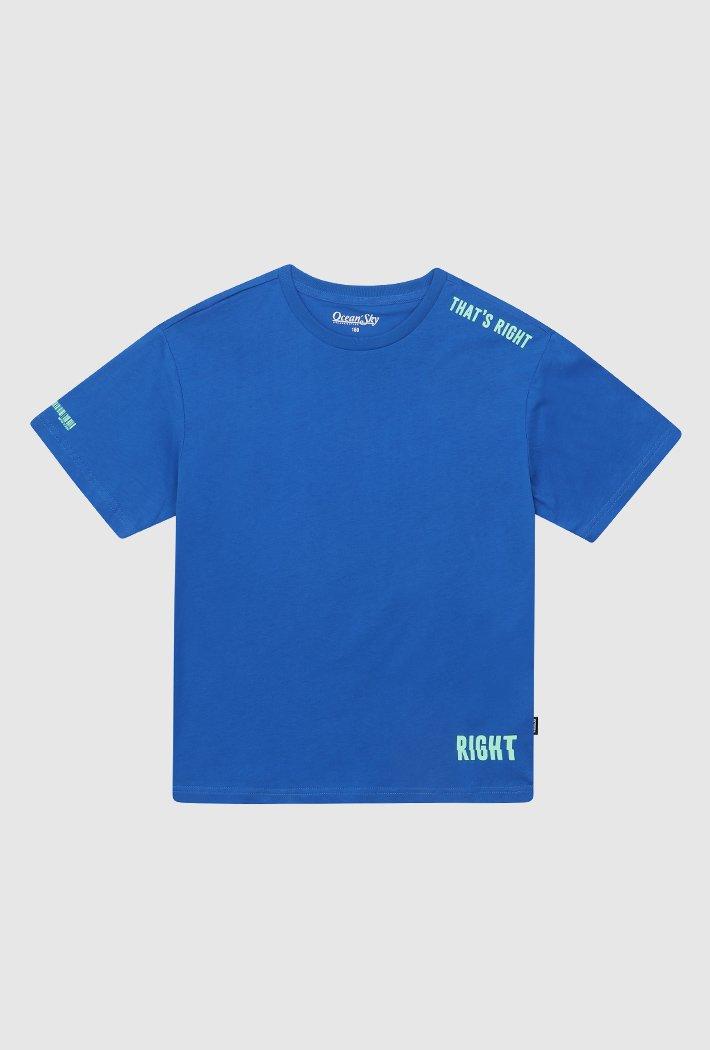 남아 오버핏 심플 레터 그래픽 티셔츠-ACJB5823E0J