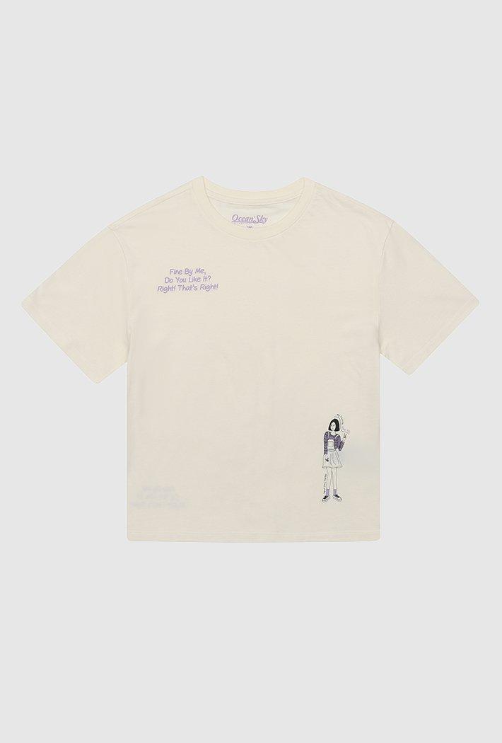 여아 일러스트 그래픽 티셔츠-ACJG5839E0A