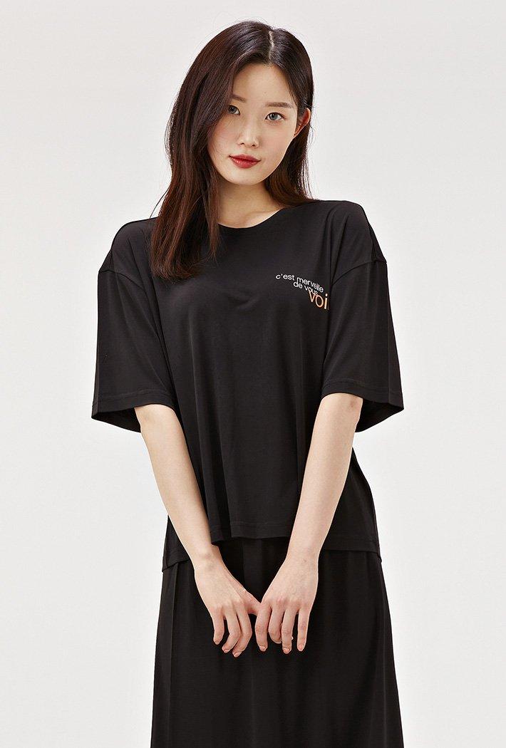 여성 루즈핏 크롭 라운드 반팔 티셔츠-ACRG5851F03