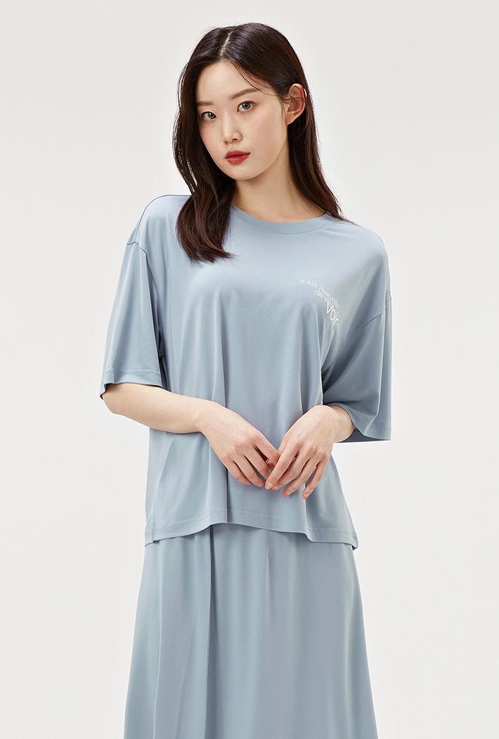 여성 루즈핏 크롭 라운드 반팔 티셔츠-ACRG5851F0D