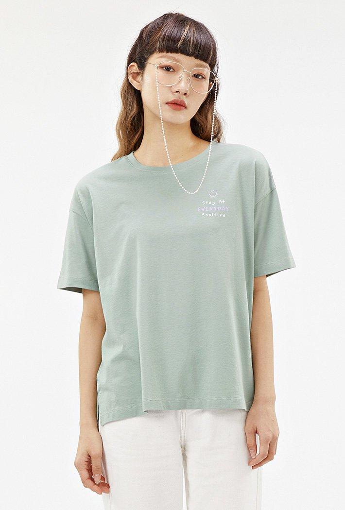 여성 스마일 오버핏 티셔츠-ACRG5860F0H