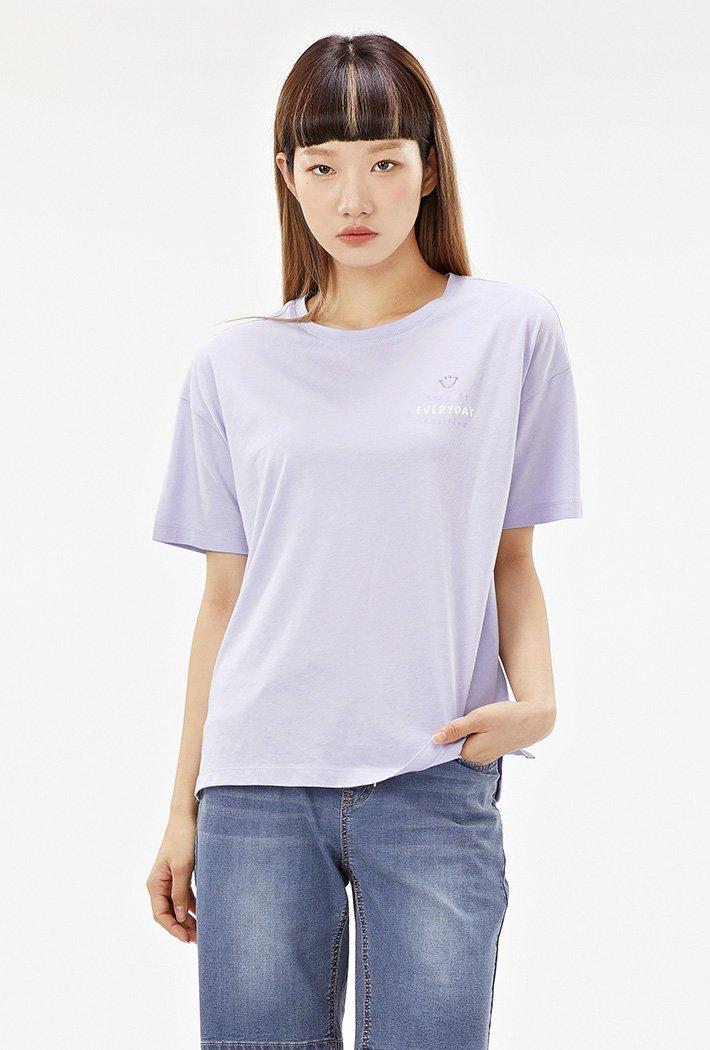 여성 스마일 오버핏 티셔츠-ACRG5860F0T
