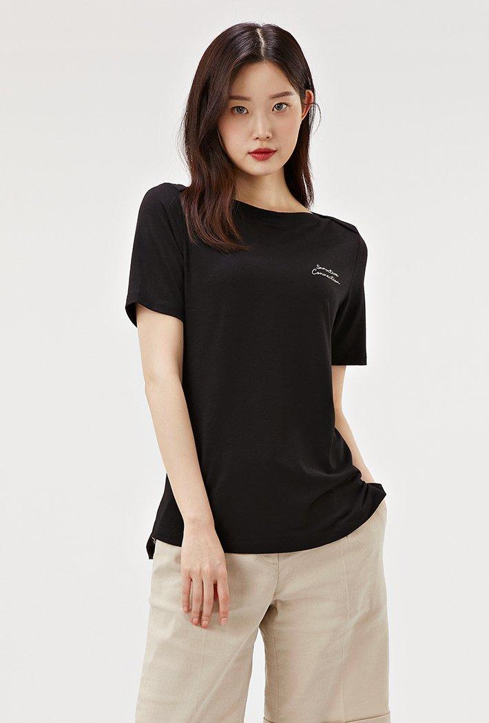 여성 보트넥 그래픽 반팔 티셔츠-ACRG5862E03