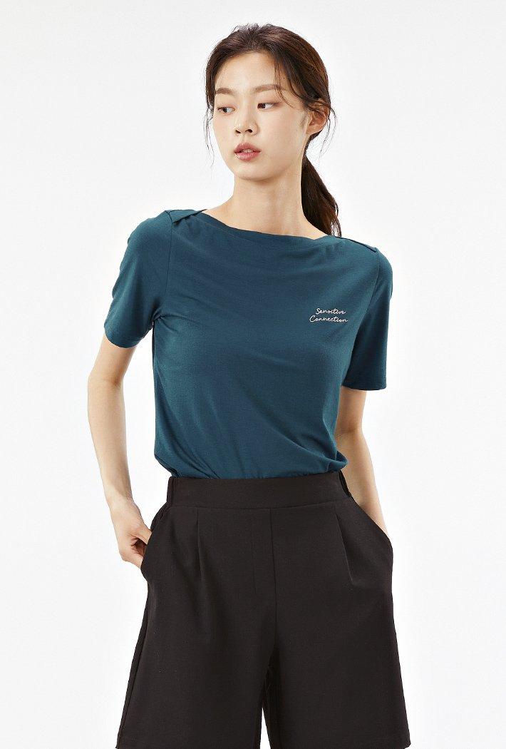여성 보트넥 그래픽 반팔 티셔츠-ACRG5862E0G