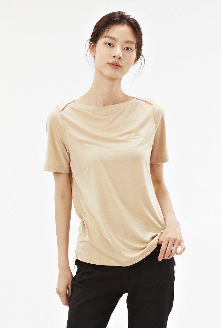 여성 보트넥 그래픽 반팔 티셔츠-ACRG5862E0M