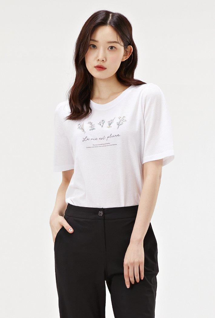여성 퍼프 소매 그래픽 반팔 티셔츠-ACRG5863E01