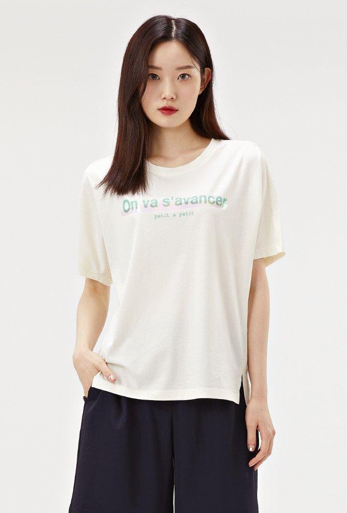 여성 루즈핏 홀로그램 그래픽 티셔츠-ACRG5864E0A