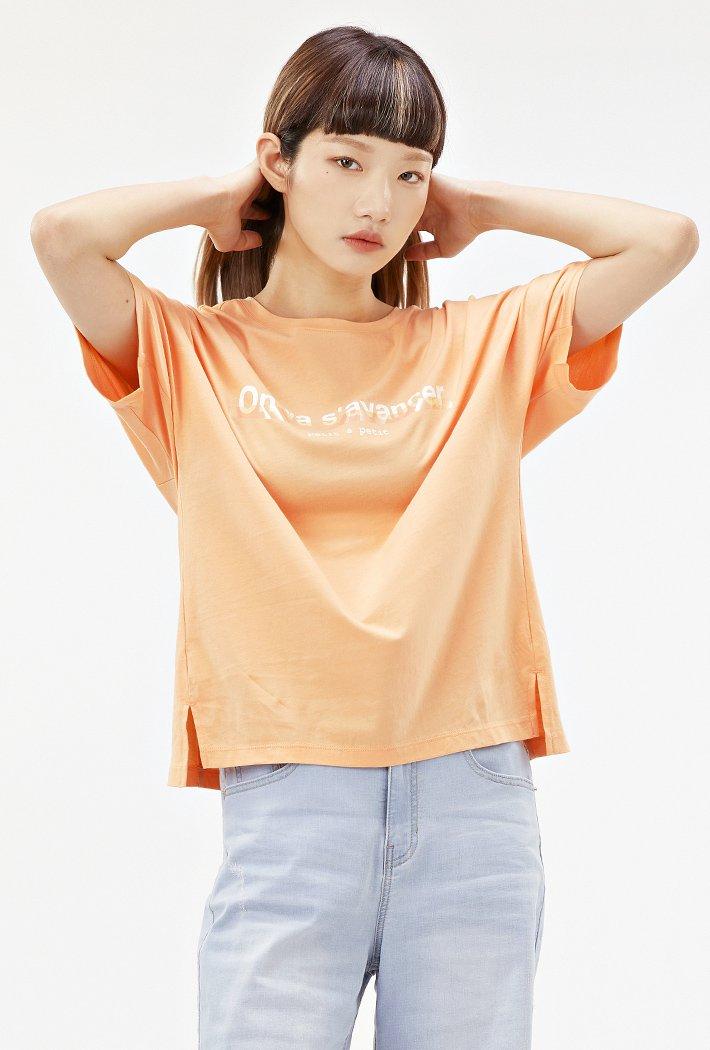 여성 루즈핏 홀로그램 그래픽 티셔츠-ACRG5864E0Q