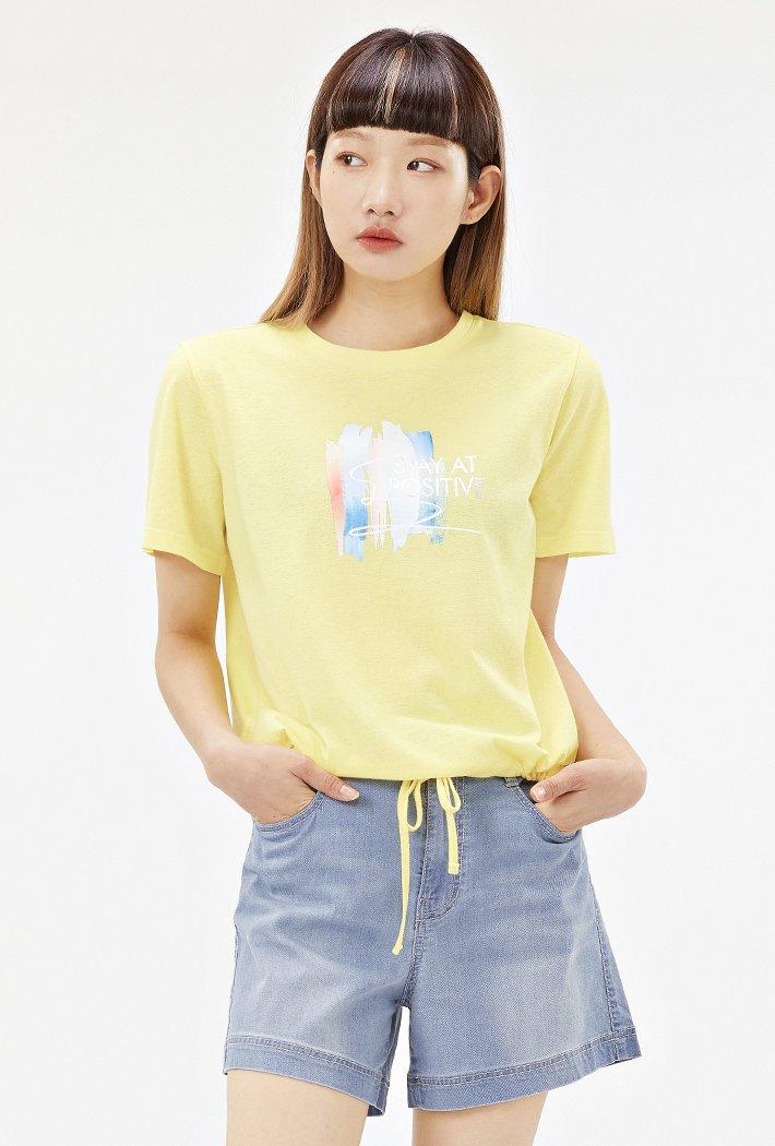 여성 옆선 스트링 그래픽 티셔츠-ACRG5865E06