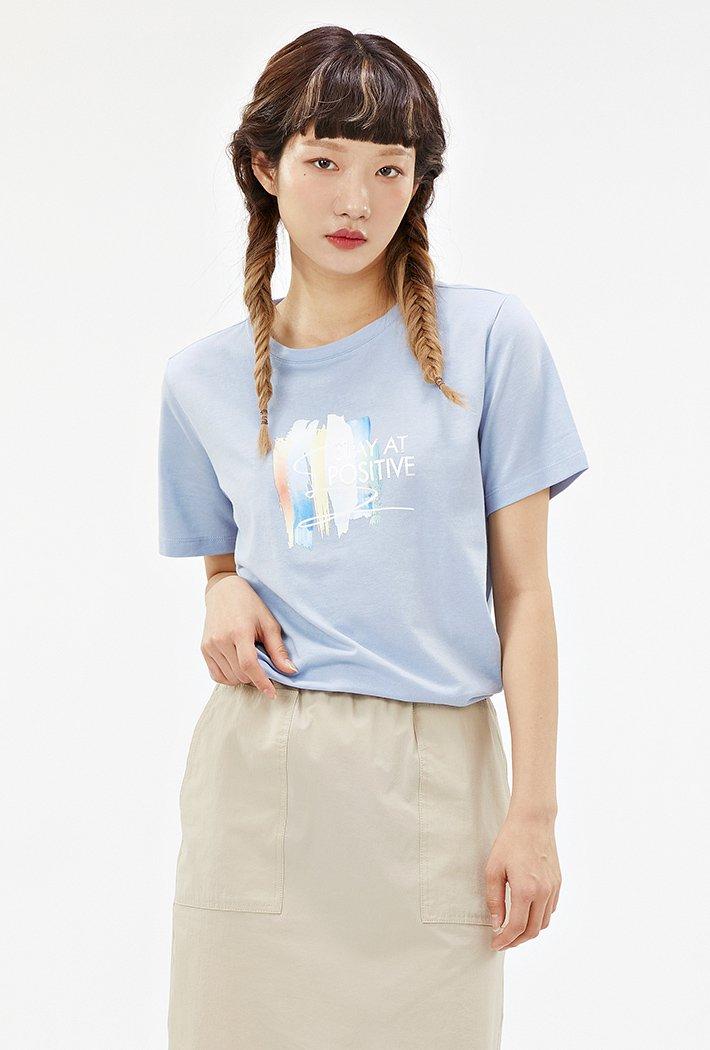 여성 옆선 스트링 그래픽 티셔츠-ACRG5865E0D