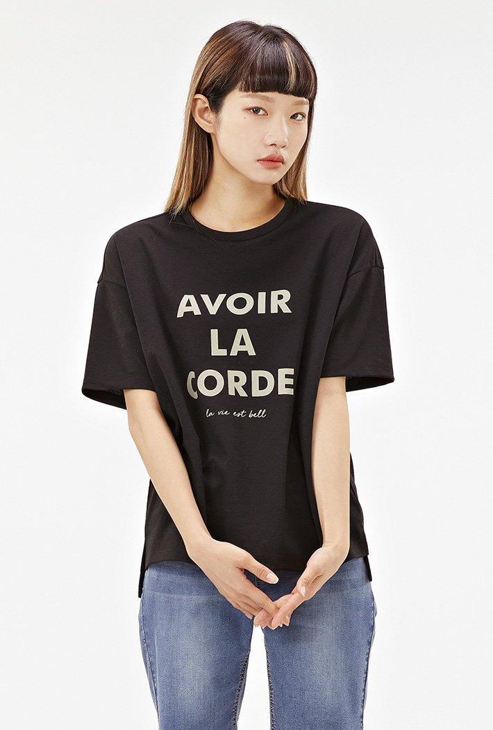 여성 루즈핏 5부 레터링 티셔츠-ACRG5874E03