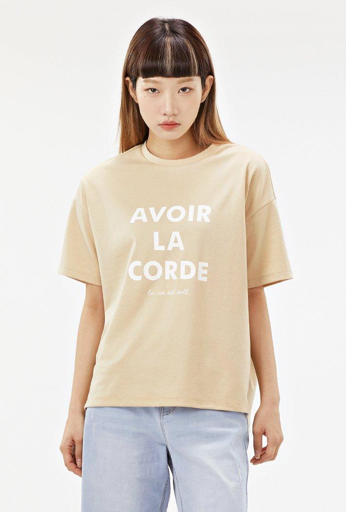 여성 루즈핏 5부 레터링 티셔츠-ACRG5874E0M