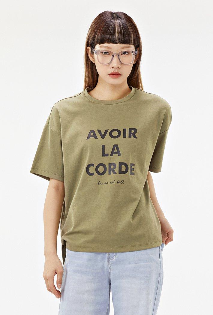 여성 루즈핏 5부 레터링 티셔츠-ACRG5874E0V