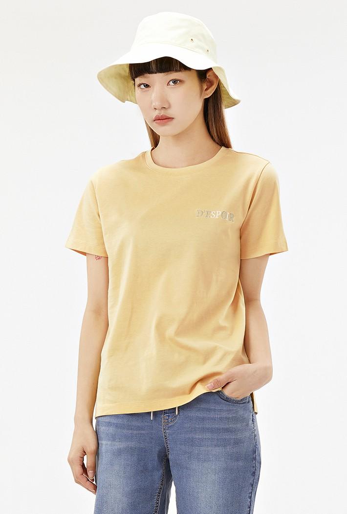 여성 등판자수 레터링 반팔 티셔츠-ACRG5875E06