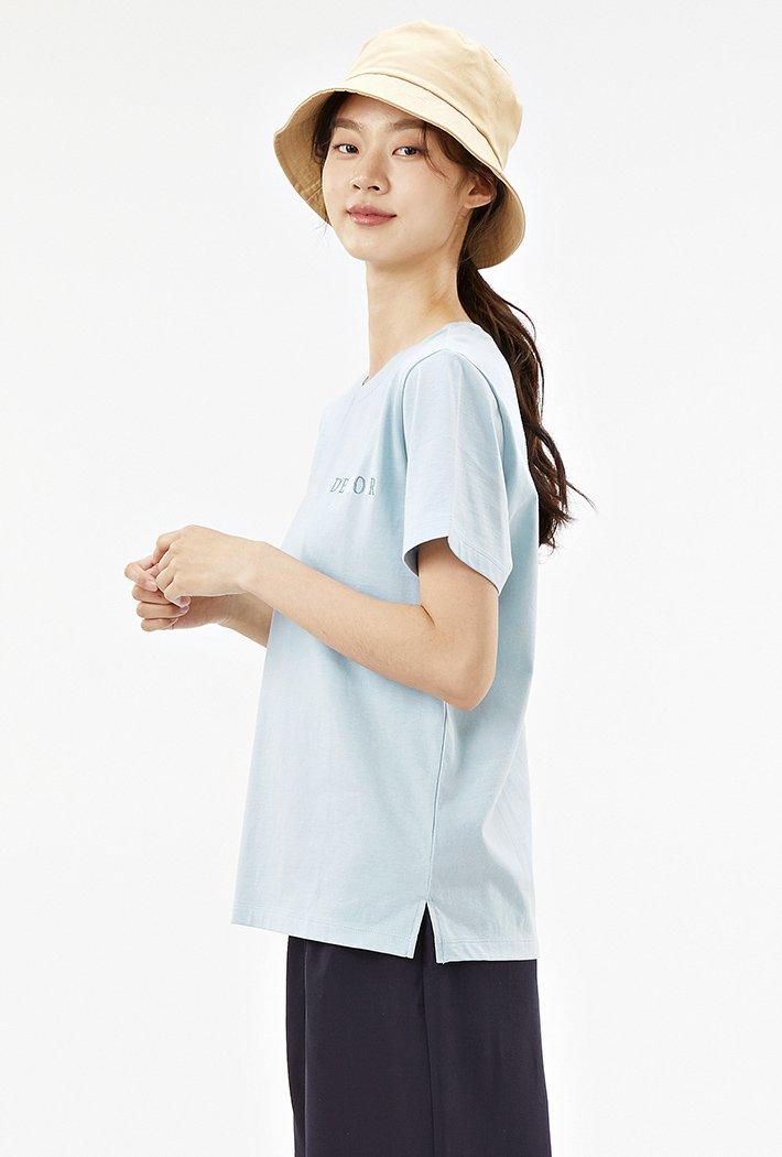 여성 등판자수 레터링 반팔 티셔츠-ACRG5875E0D