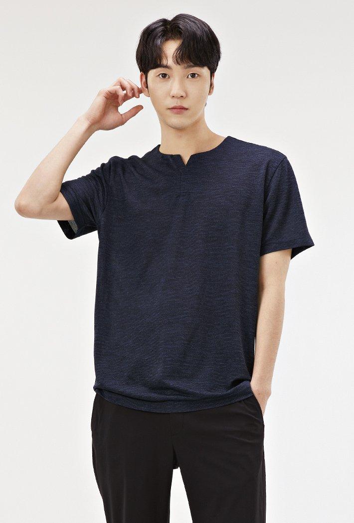 남성 쿨터치 트임넥 반팔 티셔츠-ACRK5829E04