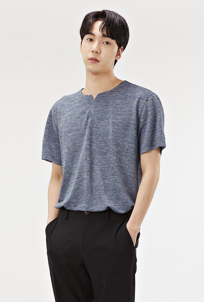 남성 쿨터치 트임넥 반팔 티셔츠-ACRK5829E0D