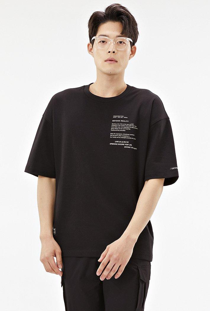 남성 오버핏 레터링 그래픽 반팔 티셔츠-ACRK5845E03