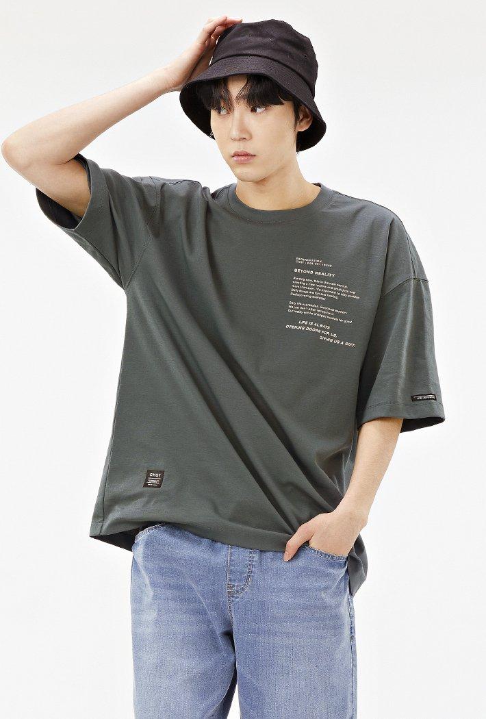 남성 오버핏 레터링 그래픽 반팔 티셔츠-ACRK5845E0H