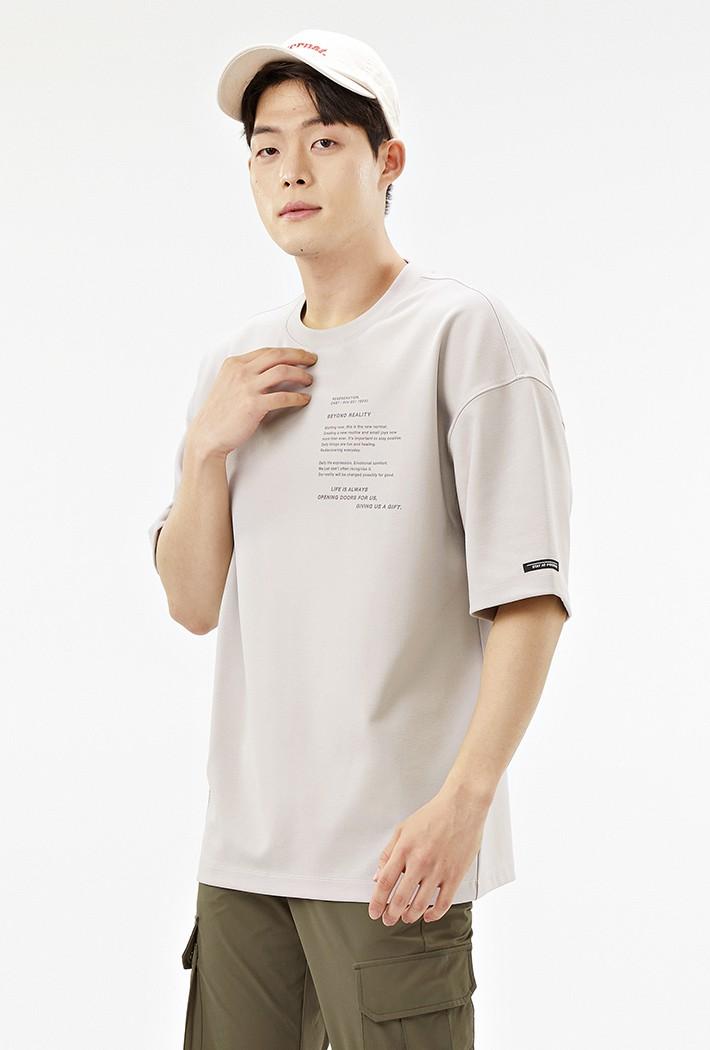 남성 오버핏 레터링 그래픽 반팔 티셔츠-ACRK5845E0M