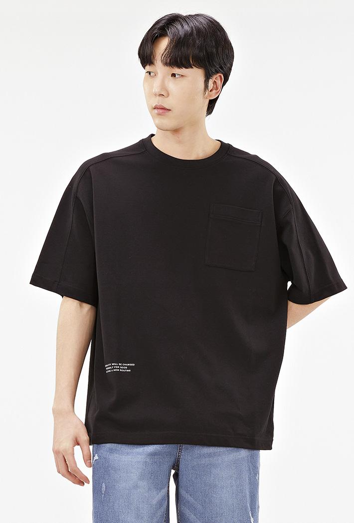 남성 오버핏 절개 포인트 티셔츠-ACRK5847F03