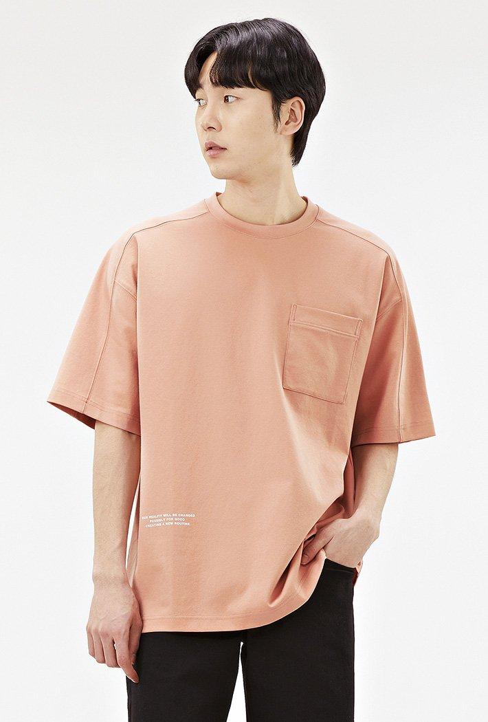 남성 오버핏 절개 포인트 티셔츠-ACRK5847F0K