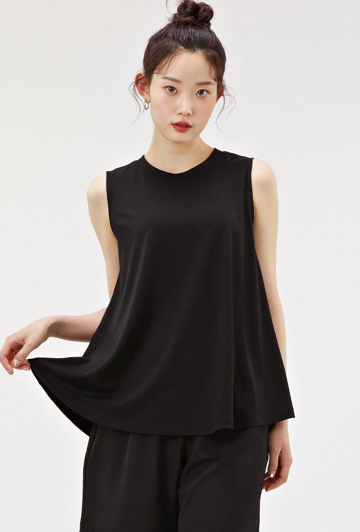 여성 A라인 플레어 슬리브리스 티셔츠-ACZG5902E03