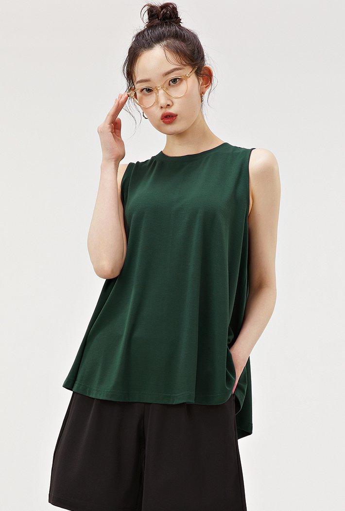 여성 A라인 플레어 슬리브리스 티셔츠-ACZG5902E0C