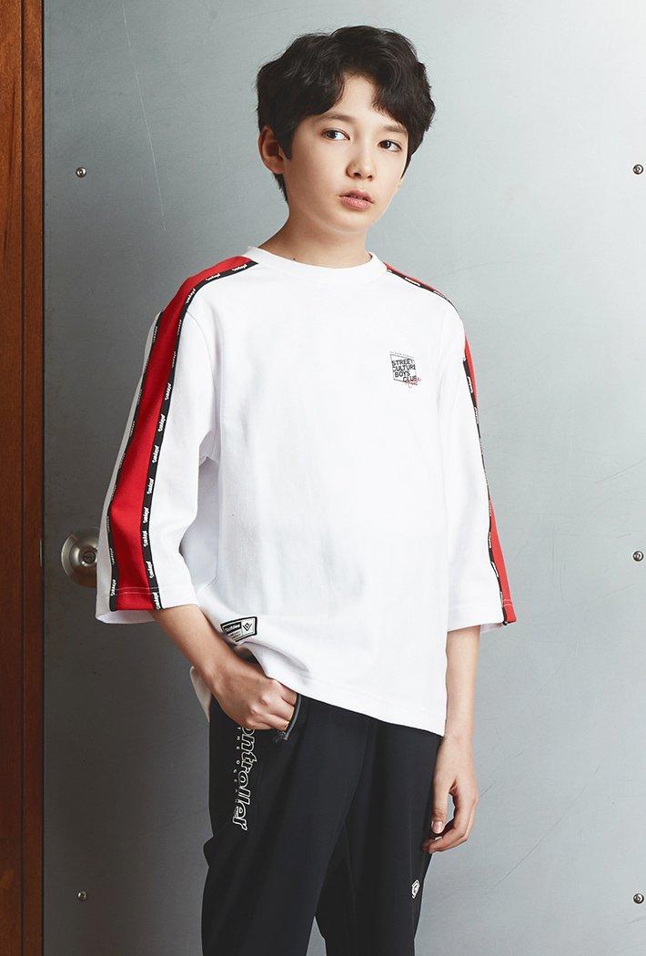 남아 오버핏 어깨배색 7부 티셔츠KAJB5120B01