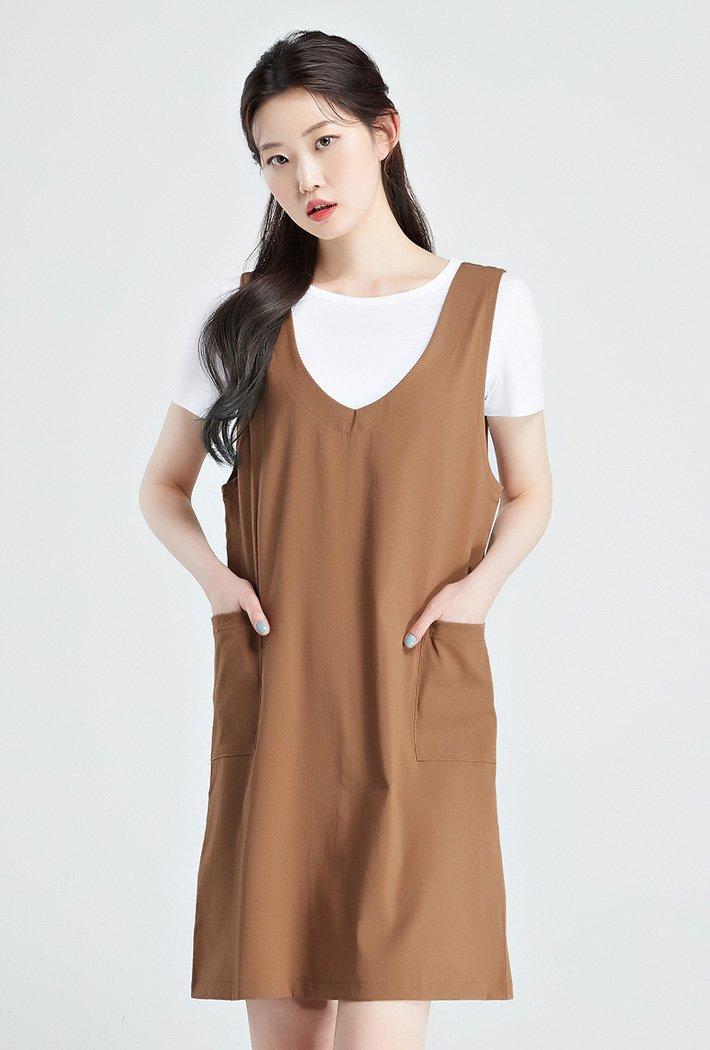 여성 티셔츠 레이어드 원피스-KBRG6103C08