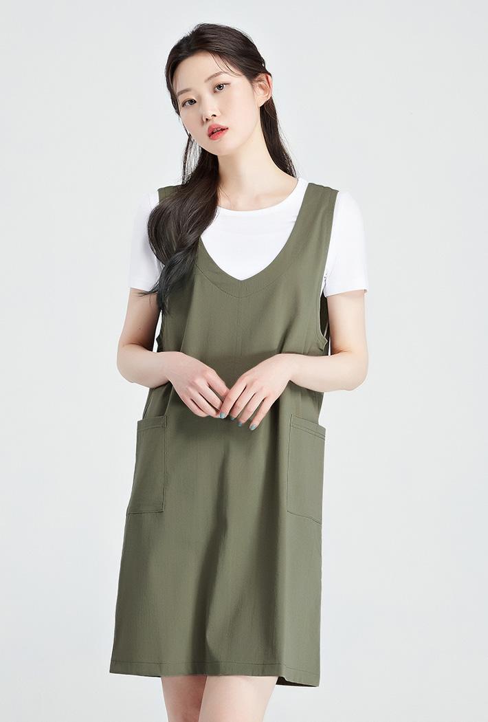여성 티셔츠 레이어드 원피스-KBRG6103C0V