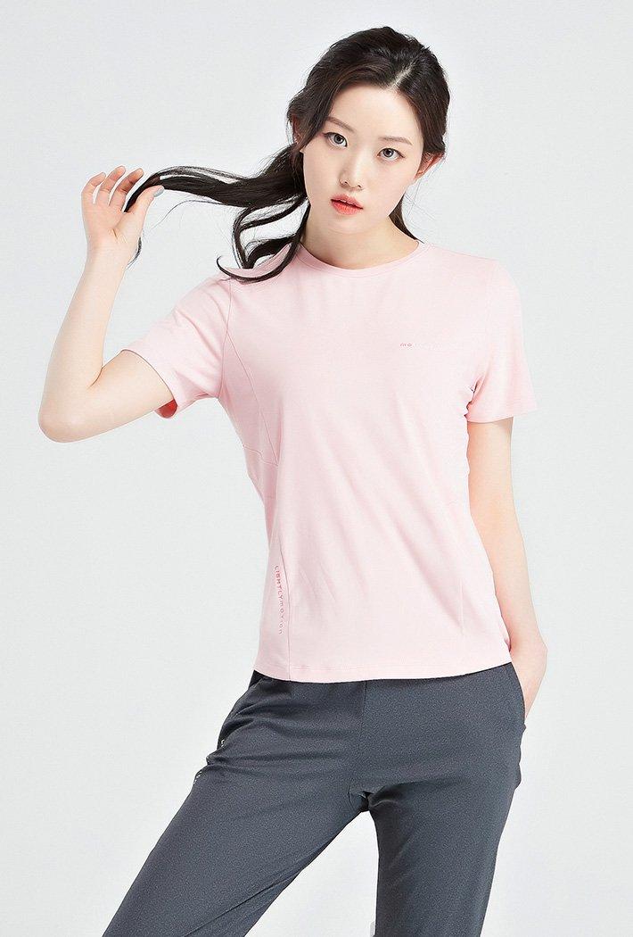 여성 쿨테크 라운드 반팔 티셔츠-KBZG5814D0P