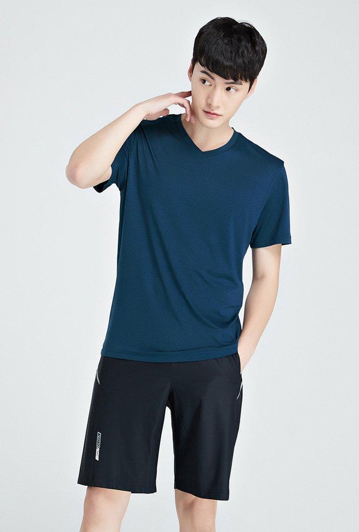 남성 쿨테크 브이넥 반팔 티셔츠-KBZK5808D0H