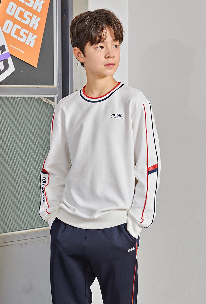 남아 세미 오버핏 파이핑 맨투맨 티셔츠KEJB5115B01