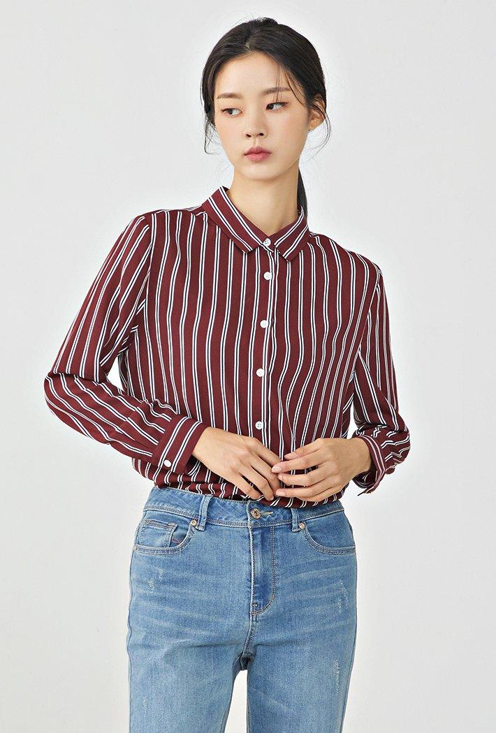 여성 뒷넥변형 스트라이프 셔츠KERG5435B0R