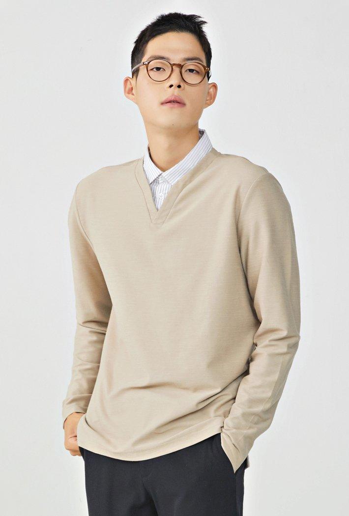 남성 셔츠레이어드 티셔츠KERK5114B0X