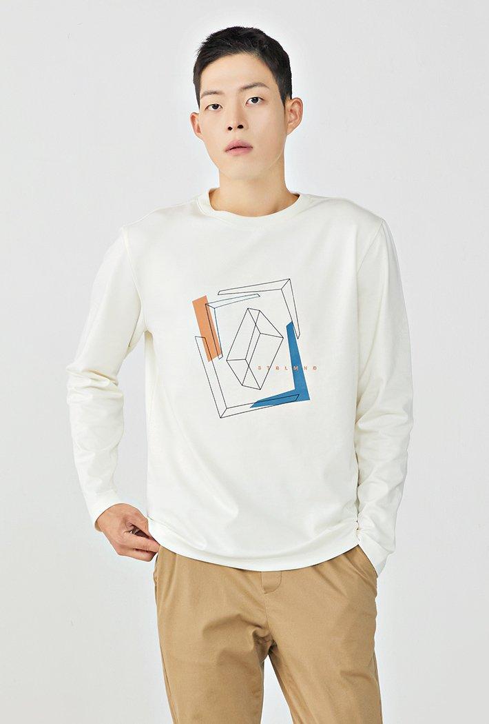 남성 도형 그래픽 긴팔 티셔츠KERK5116B0A