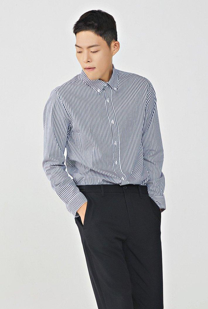 남성 스트라이프 스판 셔츠KEZK5402B04