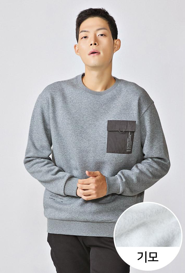 남성 기모 세미오버핏 포켓 맨투맨 티셔츠KFAK5137D0B