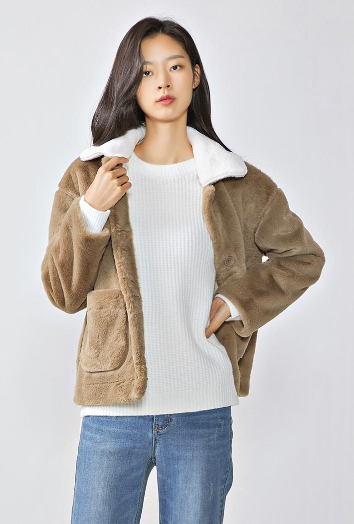 여성 카라배색 밍크 자켓-KFRG4315D0X